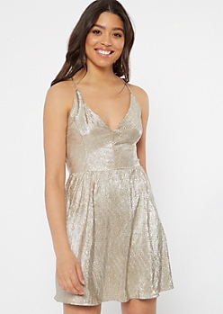Gold Metallic Strappy Back Skater Dress
