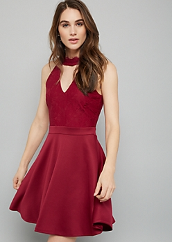 Burgundy Floral Lace Choker Neck Skater Dress