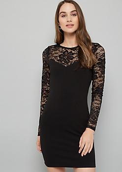 Black Floral Lace Sleeve Bodycon Mini Dress