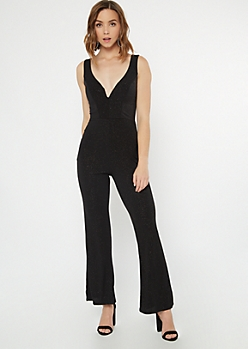 Black Sparkle Straight Leg Sleeveless Jumpsuit