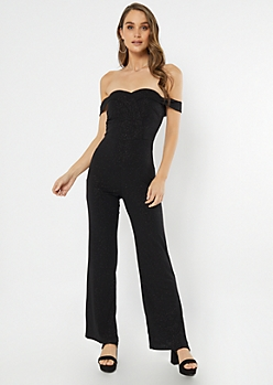 Black Glitter Off The Shoulder Surplice Jumpsuit