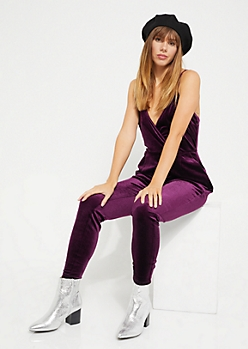 Purple Surplice Velvet Jumpsuit