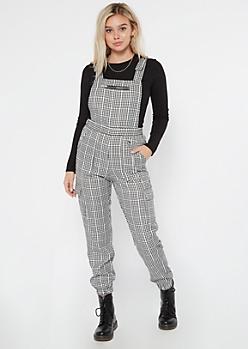 Black Gingham Plaid Zipper Pocket Overalls