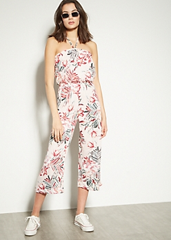 Pink Tropical Leaf Print Wide Leg Jumpsuit