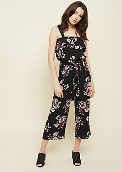 Black Floral Print Square Neck Cropped Jumpsuit