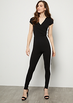 Black Side Striped Surplice Ruched Jumpsuit
