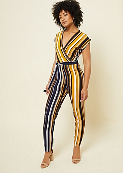Yellow Striped Pattern V Neck Crepe Jumpsuit