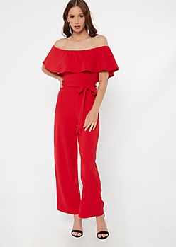 Red Flounce Wide Leg Jumpsuit