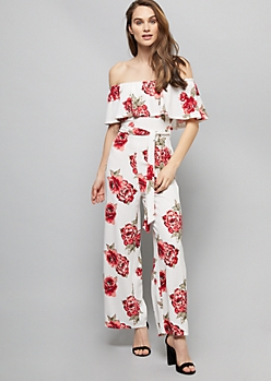 ddb36968b7f Ivory Floral Print Off The Shoulder Wide Leg Jumpsuit