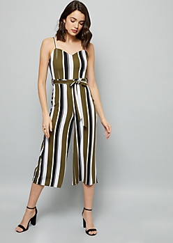Olive Striped Wide Leg Belted Jumpsuit