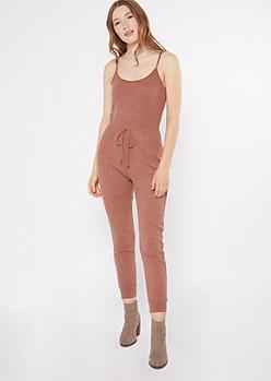 Burnt Orange Sleeveless Hacci Jumpsuit
