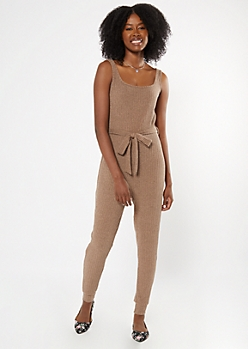 Taupe Sleeveless Hacci Jumpsuit