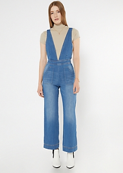 Deep V Neck Wide Leg Denim Jumpsuit