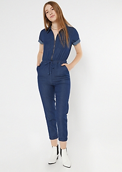 Dark Wash Chambray Zippered Short Sleeve Boilersuit