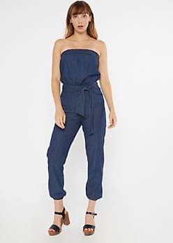 Dark Wash Chambray Tube Top Jumpsuit