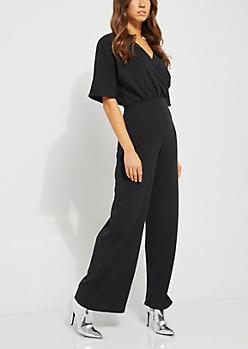 Black Surplice Jumpsuit