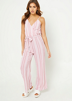 Pink Striped Wide Leg Cami Jumpsuit