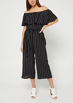 Black Striped Pattern Off Shoulder Culottes Jumpsuit