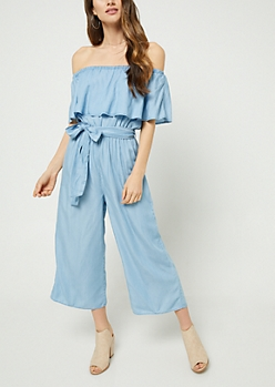 Chambray Off Shoulder Culottes Jumpsuit
