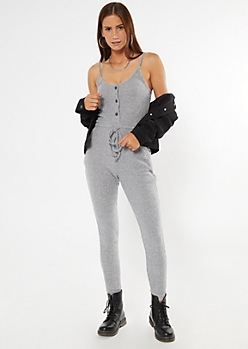 Heather Gray Buttoned Super Soft Hacci Jumpsuit