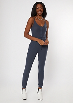 Charcoal Gray Buttoned Super Soft Hacci Jumpsuit