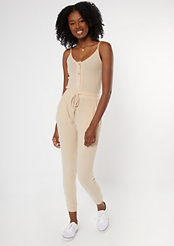 Tan Buttoned Super Soft Hacci Jumpsuit