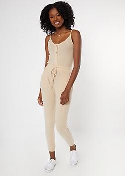 Tan Buttoned Super Soft Hacci Jumpsuit