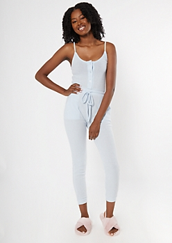 Light Blue Buttoned Super Soft Hacci Jumpsuit