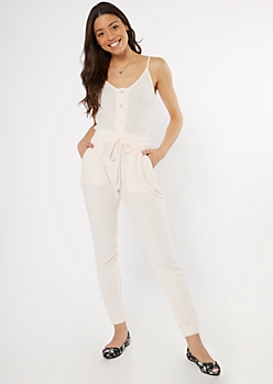 Light Pink Buttoned Super Soft Hacci Jumpsuit