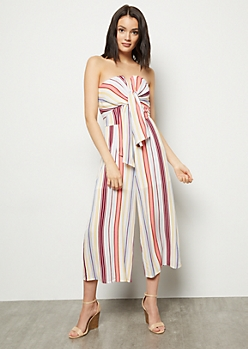Pink Striped Structured V Cropped Jumpsuit