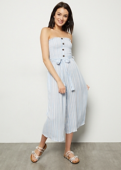 Blue Striped Smocked Tube Top Cropped Jumpsuit
