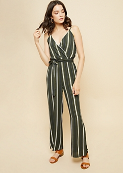 Olive Striped Pattern Wide Leg Cami Jumpsuit