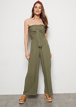 Olive Smocked Tube Top Tie Front Jumpsuit