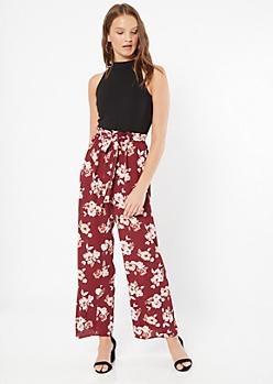 Burgundy Floral Print Sleeveless Paperbag Waist Jumpsuit