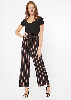 Black Striped Paperbag Waist Duo Jumpsuit