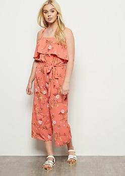 Coral Floral Print Flounce Cropped Jumpsuit