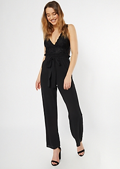 Black Lace Top Paperbag Waist Jumpsuit
