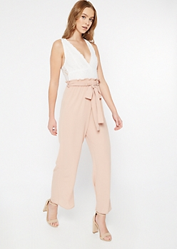 Tan Lace Top Paperbag Waist Jumpsuit