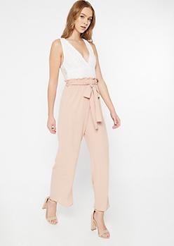 Tan Lace Top Paperbag Waist Jumpsuit