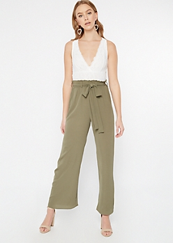 Olive Lace Top Paperbag Waist Jumpsuit