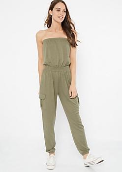 Olive Strapless Cargo Pocket Jumpsuit