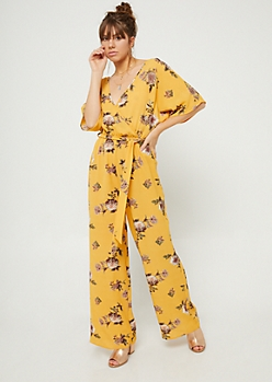 Yellow Floral Print Wide Leg Jumpsuit
