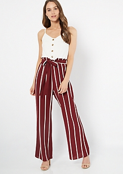 Burgundy Striped Sleeveless Duo Jumpsuit