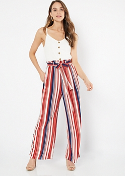 Navy Striped Sleeveless Duo Jumpsuit