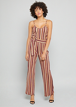 Burgundy Striped Wide Leg Cami Jumpsuit