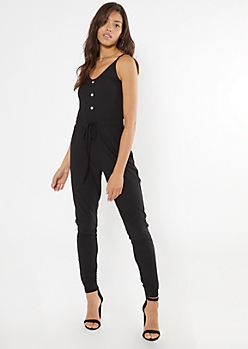 Black Ribbed Knit Faux Button Jumpsuit