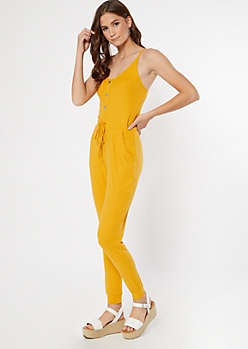 Mustard Ribbed Knit Faux Button Jumpsuit