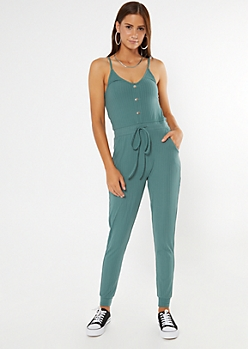 Teal Ribbed Knit Faux Button Jumpsuit