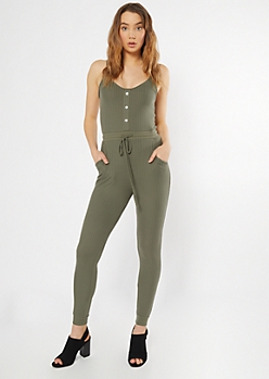 Olive Ribbed Knit Faux Button Jumpsuit
