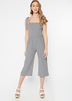 Gray Tie Strap Ribbed Knit Cropped Jumpsuit
